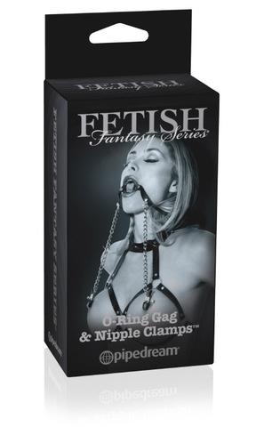 Кляп с зажимами для сосков O-Ring Gag & Nipple Clamps