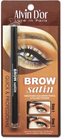Alvin D`or  Дуэт д/бровей карандаш+пудра Brow Satin (тон 01 medium brown) P-5