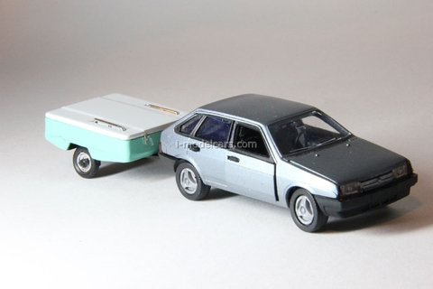 VAZ-2109 Lada with roof rack and trailer Skif Agat Mossar Tantal 1:43