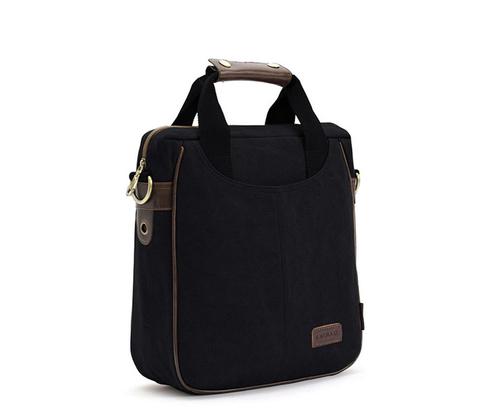 BAG391-1 Повседневная мужская сумка черного цвета из ткани с ремнем на плечо