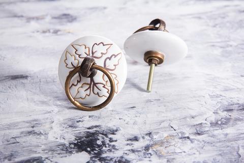 Ручка мебельная керамическая с кольцом  √ 58, арт. 000758