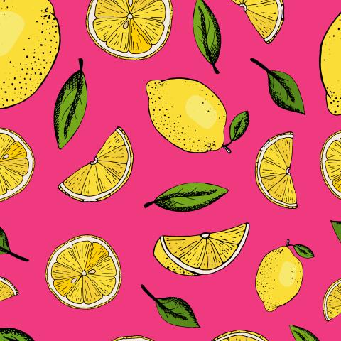 милый паттерн с нарисованными лимонами и листьями на розовом фоне