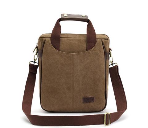 BAG391-2 Мужская сумка на каждый день из ткани цвета хаки с ремнем на плечо