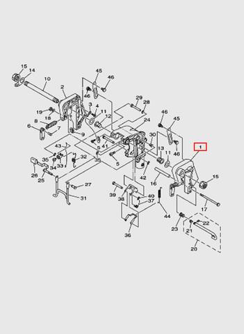 Скоба струбцины левая  для лодочного мотора T15, OTH 9,9 SEA-PRO (13-1)