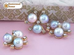 Декор Три жемчужины с усиками между ними розово-голубые