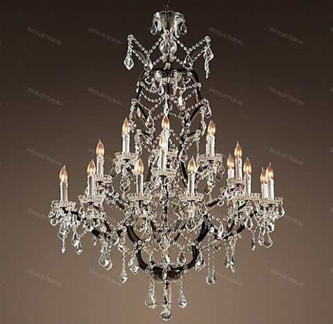 replica  19TH C. ROCOCO IRON & CLEAR CRYSTAL ROUND Restoration Hardware 68060228