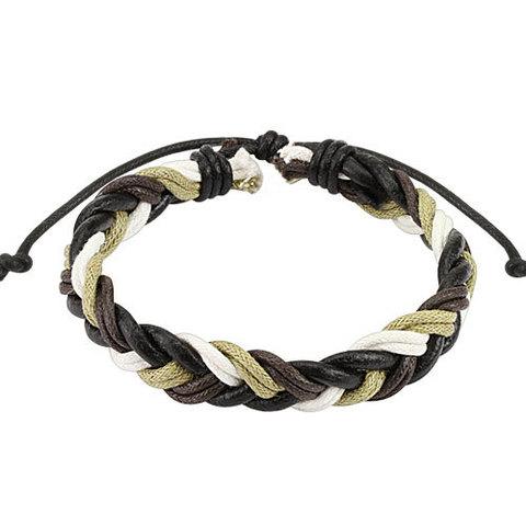 Браслет мужской косичка разноцветная из кожи и вощёного шнура SPIKES SL0179-BE
