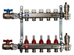 Коллектор Stout на 5 контуров с расходомерами для тёплого пола из нержавеющей стали в сборе SMS-0907-000005