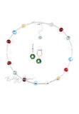 Комплект Carnavale Argento Piccolo (зеленые серьги на серебре, ожерелье)
