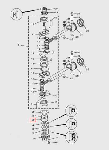 Кольцо уплотнительное  для лодочного мотора T15, OTH 9,9 SEA-PRO (3-2)