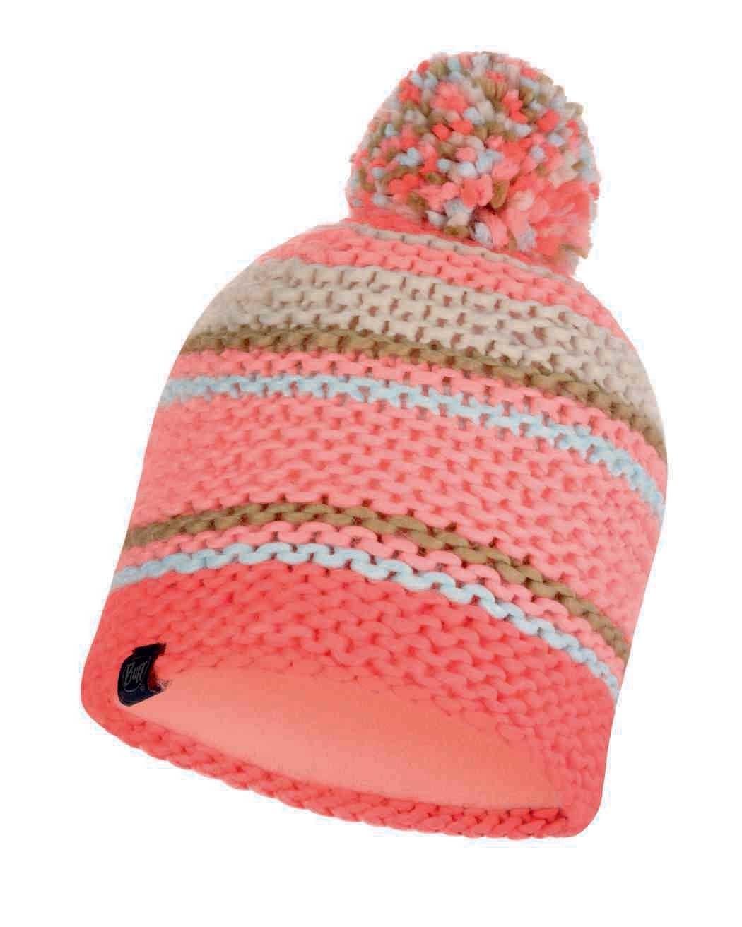 Шапки с помпоном Вязаная шапка с флисовой подкладкой Buff Hat Knitted Polar Dorian Coral Pink 116024.506.10.00.jpg
