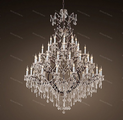 replica  19TH C. ROCOCO IRON & CLEAR CRYSTAL ROUND Restoration Hardware 68290136