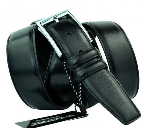 Ремень мужской классический чёрный прошитый большого размера батал из натуральной кожи для брюк 35 мм для 35Maybik-B-009