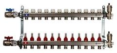 Коллектор Stout на 12 контуров с расходомерами для тёплого пола из нержавеющей стали в сборе SMS-0907-000012