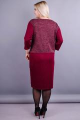Виши. Повседневное женское платье плюс сайз. Бордо.