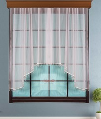 Короткий тюль-арка со стеклярусами. Клайм (розовый)