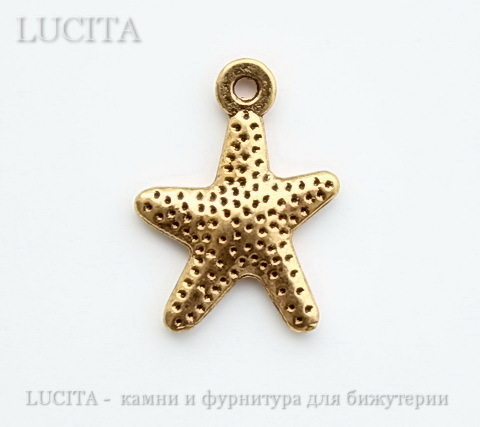 "Подвеска ""Морская звезда"" 16х12 мм (цвет - античное золото)"