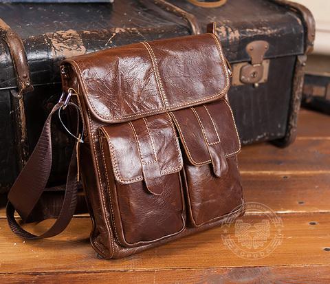 BAG392-2 Мужская сумка из натуральной кожи с ремнем через плечо
