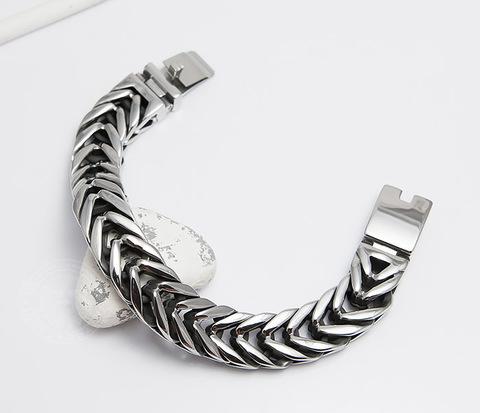 Крутой тяжелый мужской браслет из ювелирной стали (22 см)