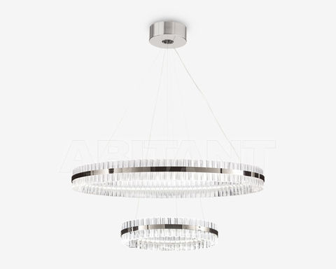 replica Saturno LED 2 rings  chrome Pendant by Baroncelli