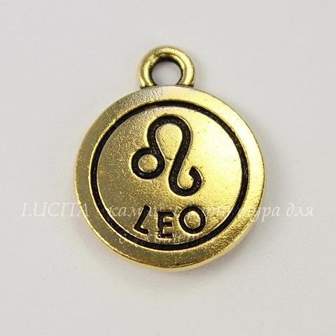 "Подвеска TierraCast знак зодиака ""Лев"" (цвет-античное золото) 19х15 мм"