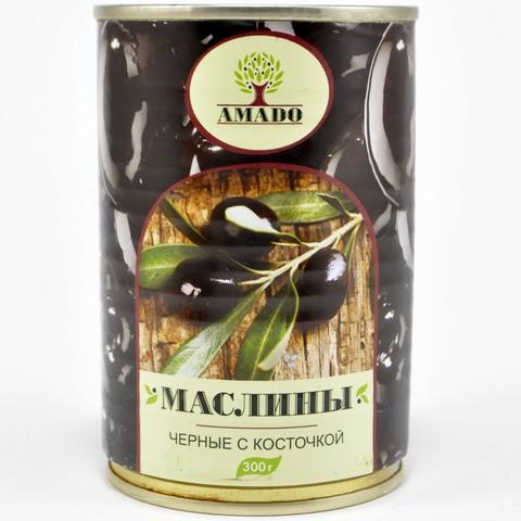 Маслины черные с косточкой в ж/б Amado, 300г