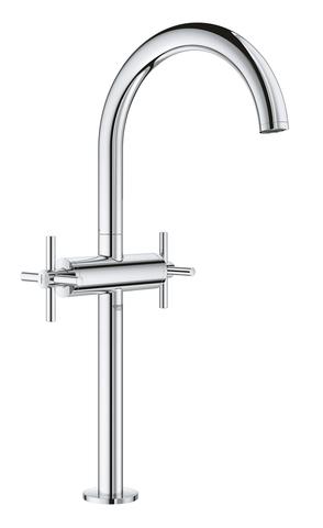 Atrio New Смеситель двухвентильный для раковины на 1 отверстие, для свободностоящих раковин, крестобразные ручки, размер XL