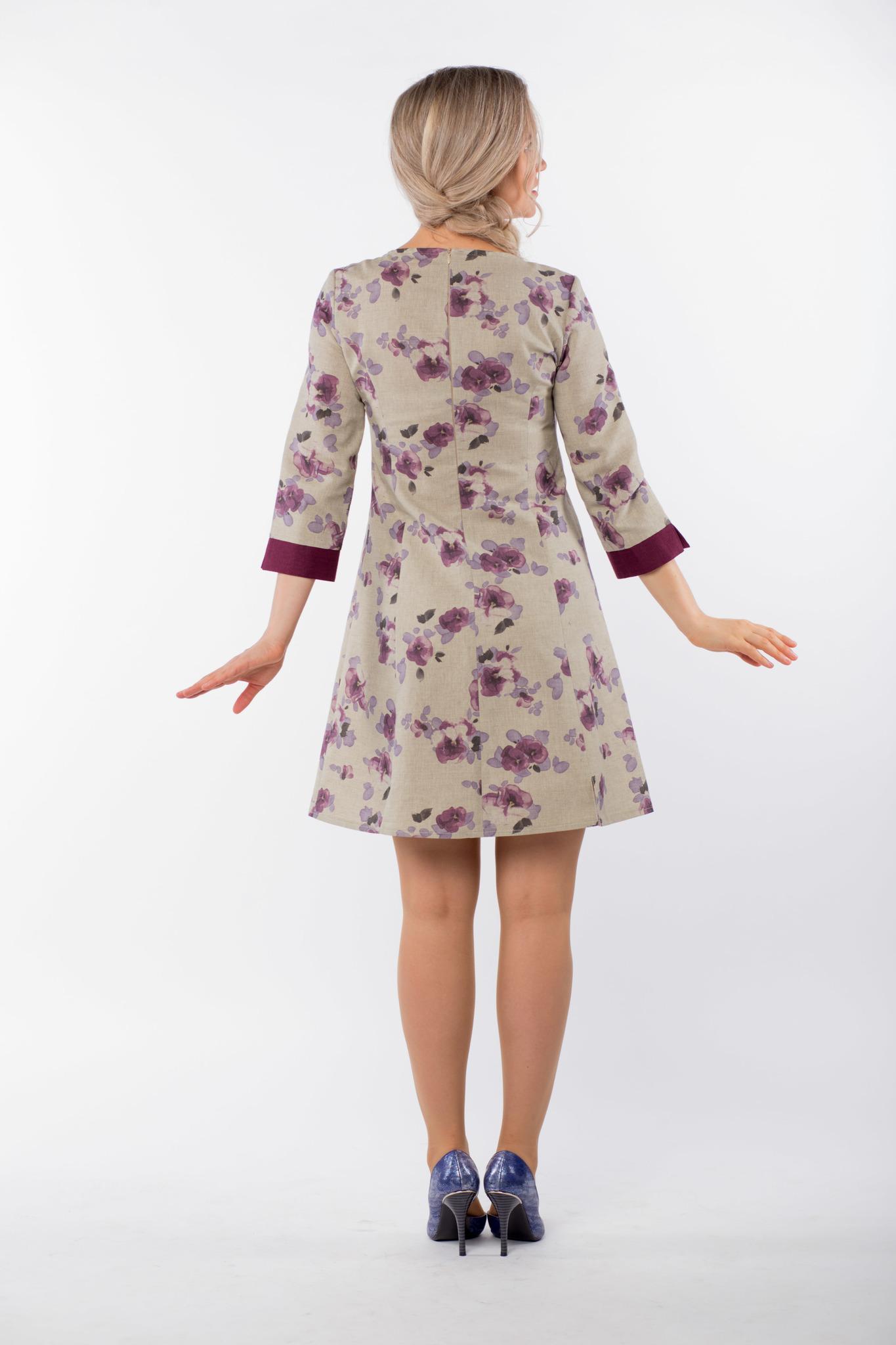 Платье льняное Лесная фиалка вид сзади