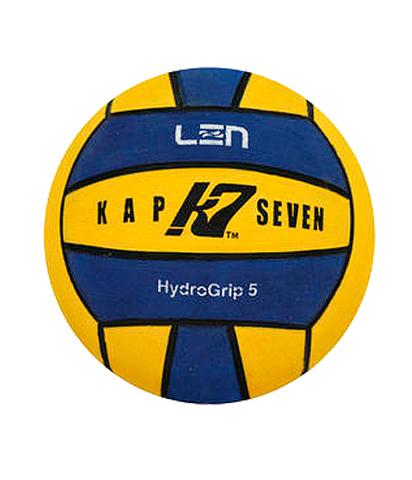 Официальный ватерпольный мяч KAP7 Official LEN + FINA Game Ball K7 5 yellow-blue Размер 5 мужской арт.B-K7-LEN-5-0107