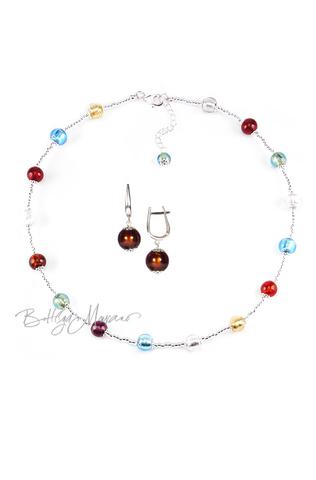 Комплект Carnavale Argento Piccolo (коричневые серьги на серебре, ожерелье)