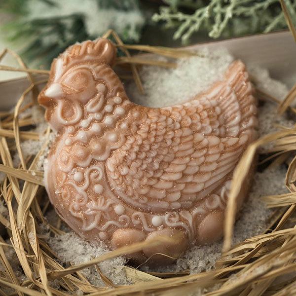 Мыло Курица с орнаментом. Форма пластиковая