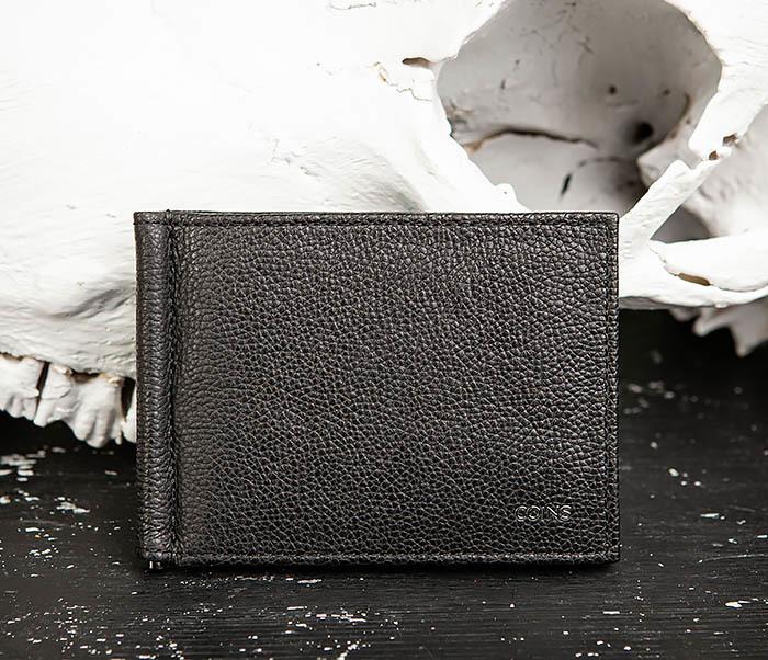 WL323-1 Стильный зажим для денег из черной кожи c монетницей, «Santini» фото 02