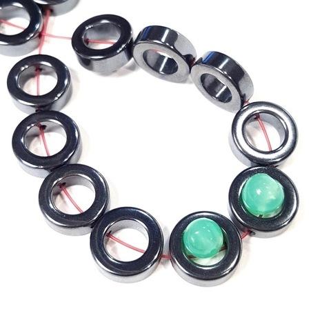 Бусины гематит кольцо 12 мм цвет черный 1 штука