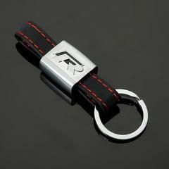 Кожаный брелок  для ключей с логотипом автомобиля Фольксваген Р (Volkswagen R) черный