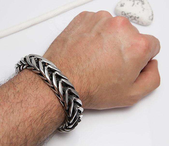BM493 Крутой тяжелый мужской браслет из ювелирной стали (22 см) фото 06