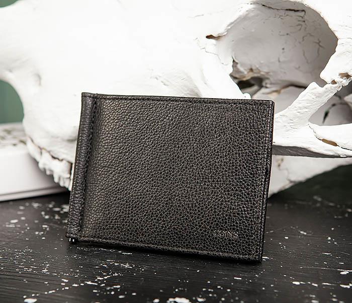 WL323-1 Стильный зажим для денег из черной кожи c монетницей, «Santini» фото 03