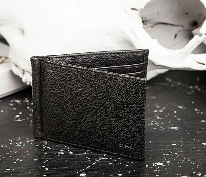 WL323-1 Стильный зажим для денег из черной кожи c монетницей, «Santini» фото 04