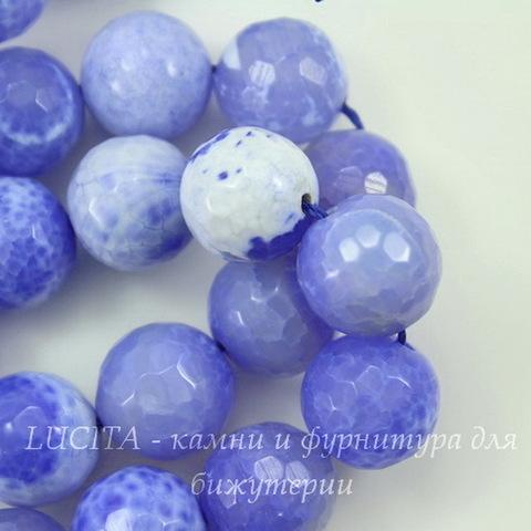Бусина Агат, шарик с огранкой, цвет - молочно-васильковый, 14 мм, нить