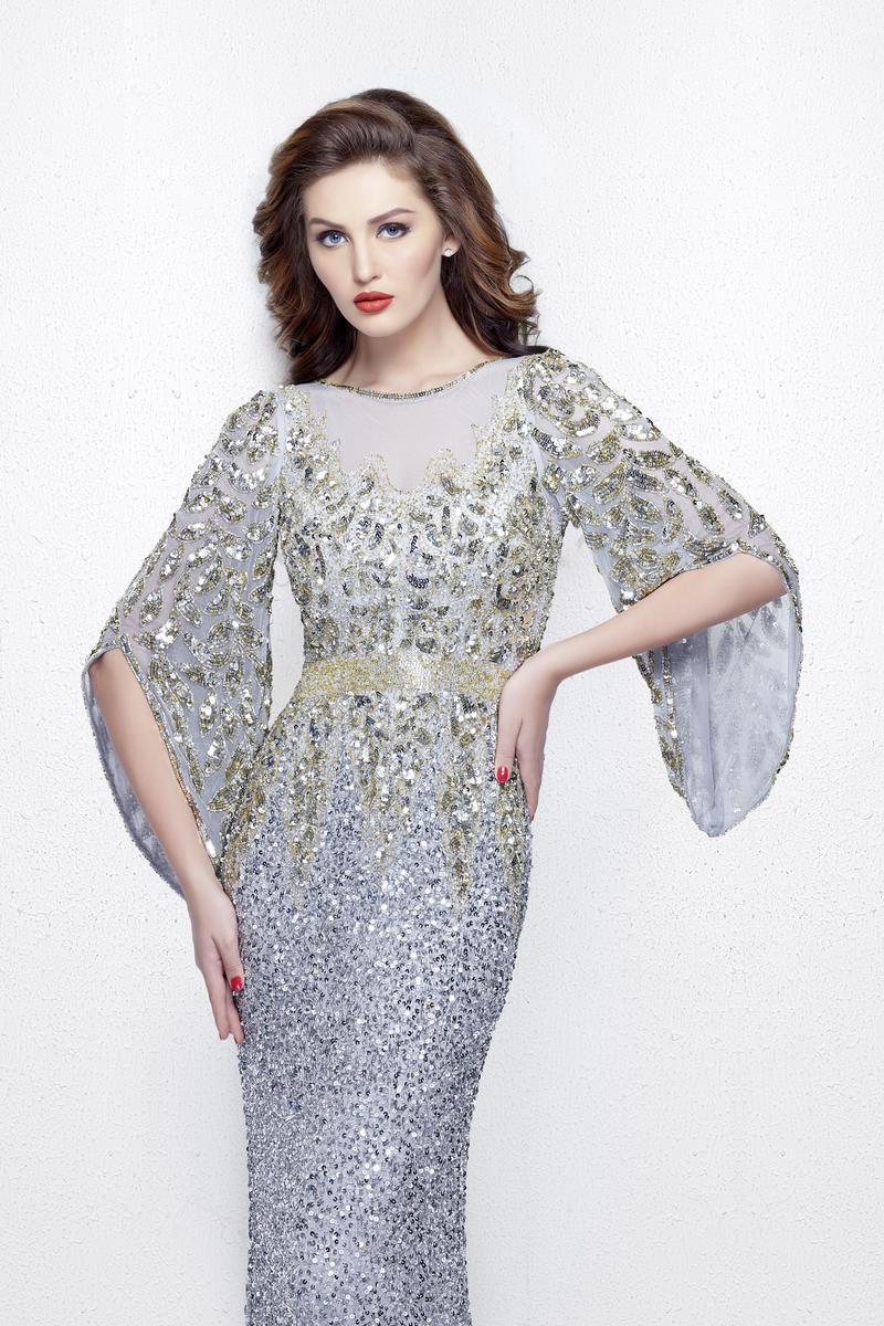 3942df94c07ef34 Daniela 8188 платье расшитое пайетками и бисером, необычные рукава