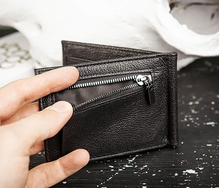 WL323-1 Стильный зажим для денег из черной кожи c монетницей, «Santini» фото 05