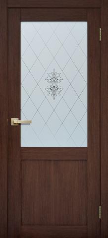 Дверь Porte line Берлин 90, стекло матовое, цвет орех вельвет, остекленная