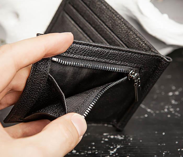 WL323-1 Стильный зажим для денег из черной кожи c монетницей, «Santini» фото 06