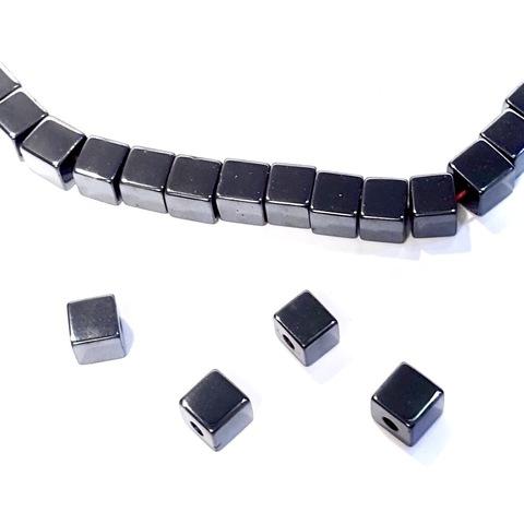 Бусины гематит кубик 6 мм черный 1 штука