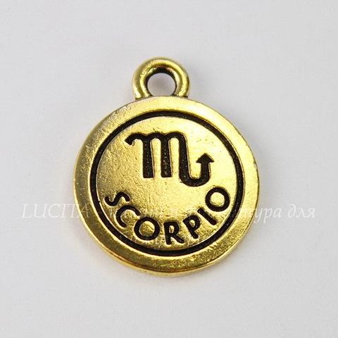 "Подвеска TierraCast знак зодиака ""Скорпион"" (цвет-античное золото) 19х15 мм"