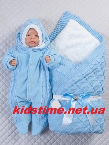 Зимний комплект на выписку Вязка комби голубой