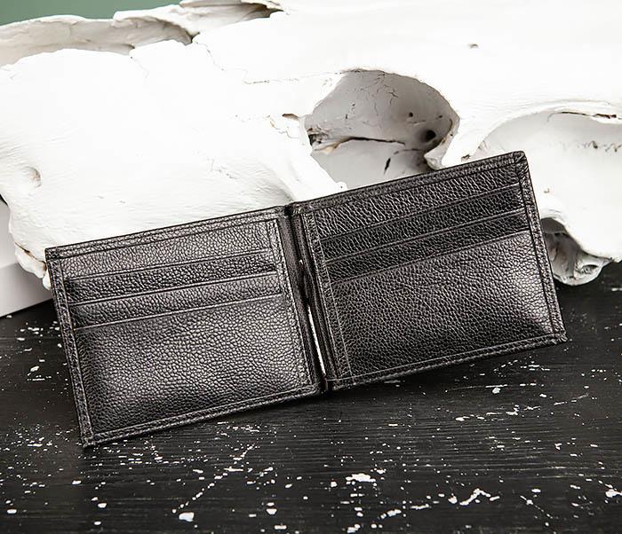 WL323-1 Стильный зажим для денег из черной кожи c монетницей, «Santini» фото 07