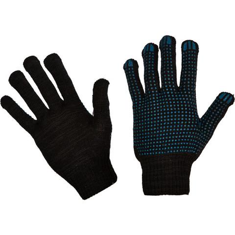 Перчатки трикотажные с ПВХ Точка 4 нити 43г 10класс черные 10пар/уп
