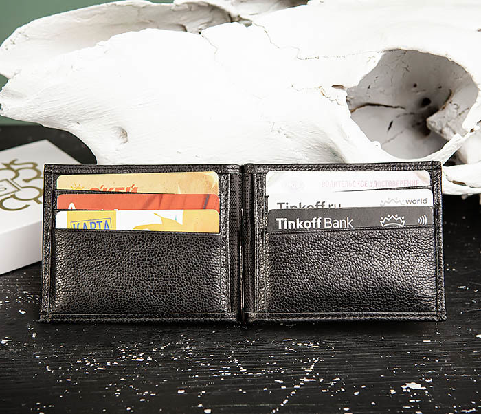 WL323-1 Стильный зажим для денег из черной кожи c монетницей, «Santini» фото 08