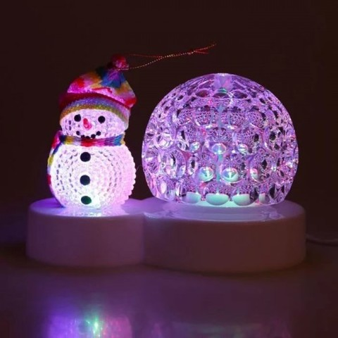 Светильник шар со снеговиком