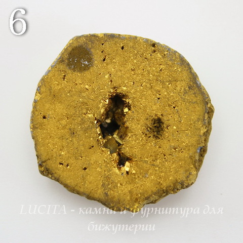 Бусина Агат с Кварцем с жеодой (тониров), цвет - золотой, 25-30 мм (№6 (28х27 мм))